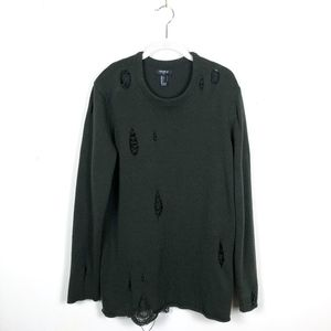 Forever 21 Sweaters - Oversized Long Ripped Distressed Olive Sweater